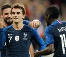 Antoine Griezmann,Olivier Giroud,Blaise Matuidi,French President Emmanuel Macron and South Korean President Moon Jae-in attend a meeting at the Elysee Palace in Paris - France
